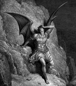 Satan, as drawn by Gustave Doré, in John Milton's Paradise Lost.