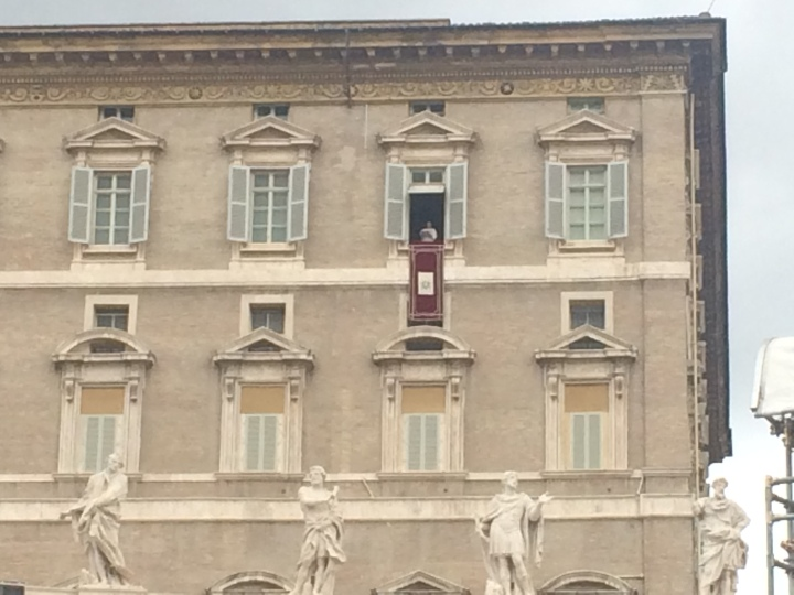 The Pope giving a Sunday blessing from a window.